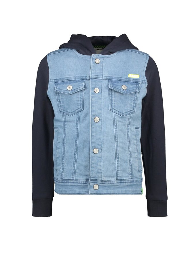 Boys Denim Jacket With Sweat Hood And Sleeves