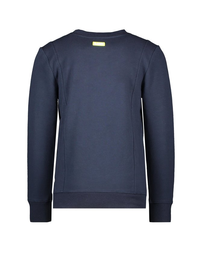 Boys Sweater With Fake Pocket, Side Pockets - Oxford Blue