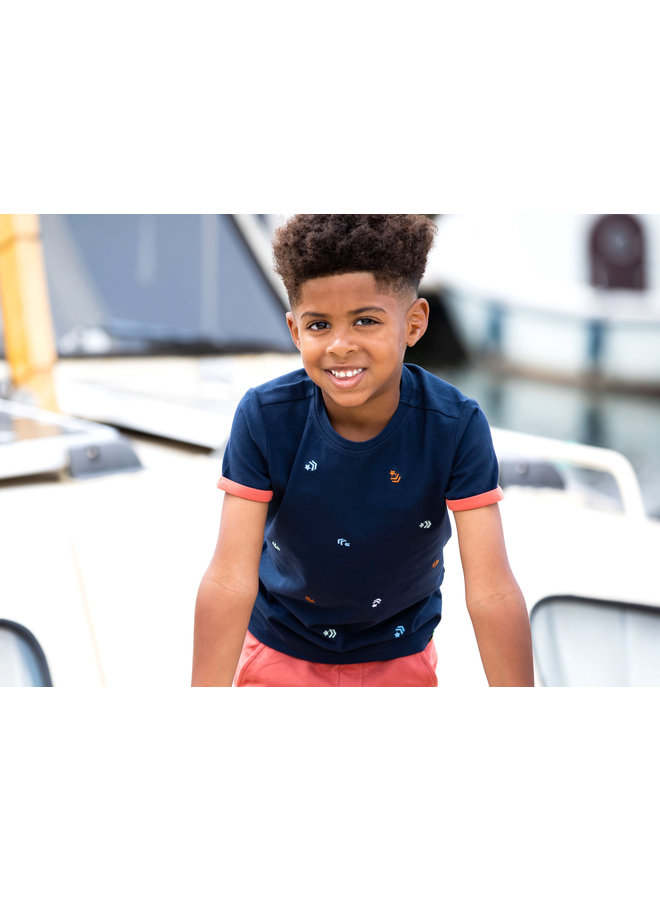Boys SS Shirt With Panel Embroidery On Chest - Oxford Blue