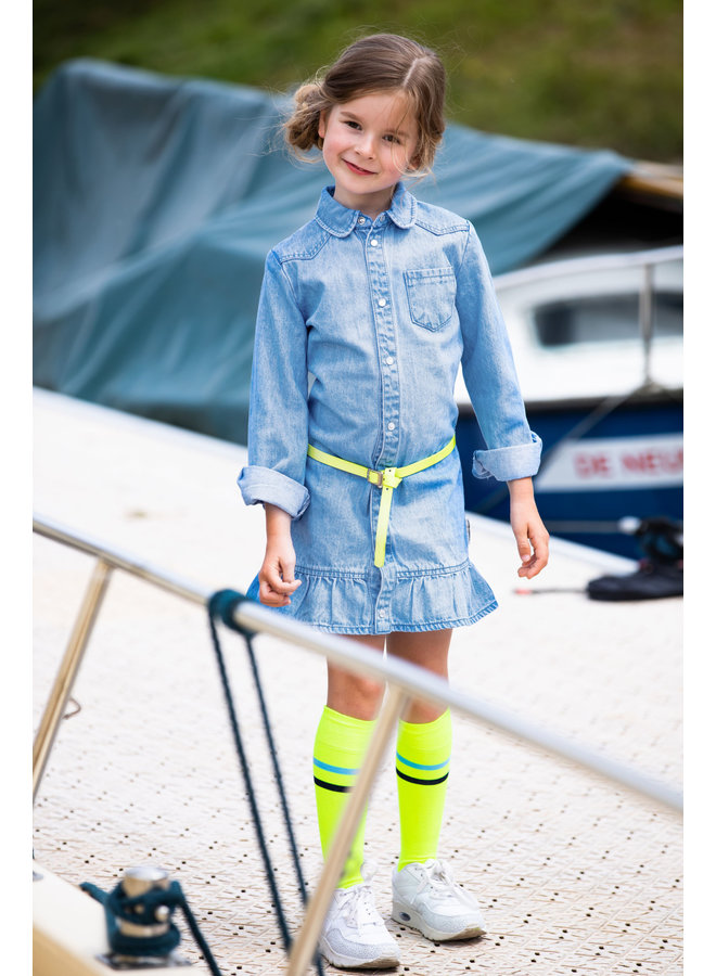 Girls Basic Socks With Contrast Stripes - Safety Yellow
