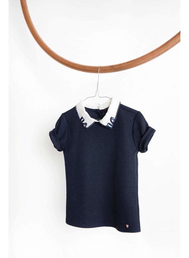Karli T-shirt 1/2 sl With Contrast Woven Collar - Navy Blazer