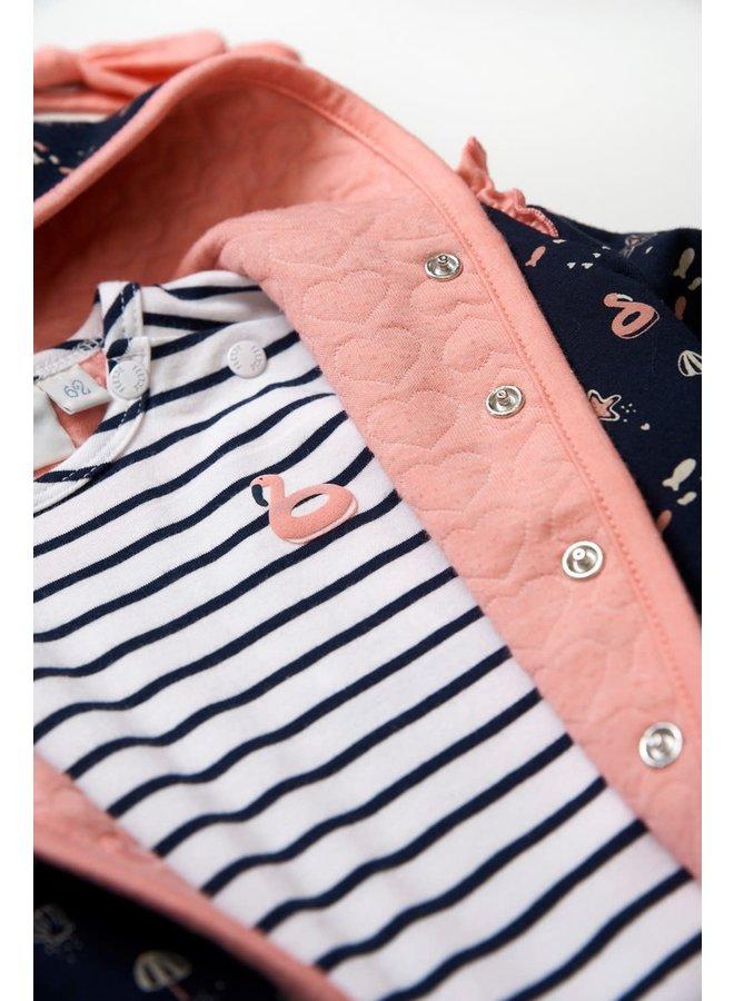T-shirt streep - Seaside Kisses - Wit