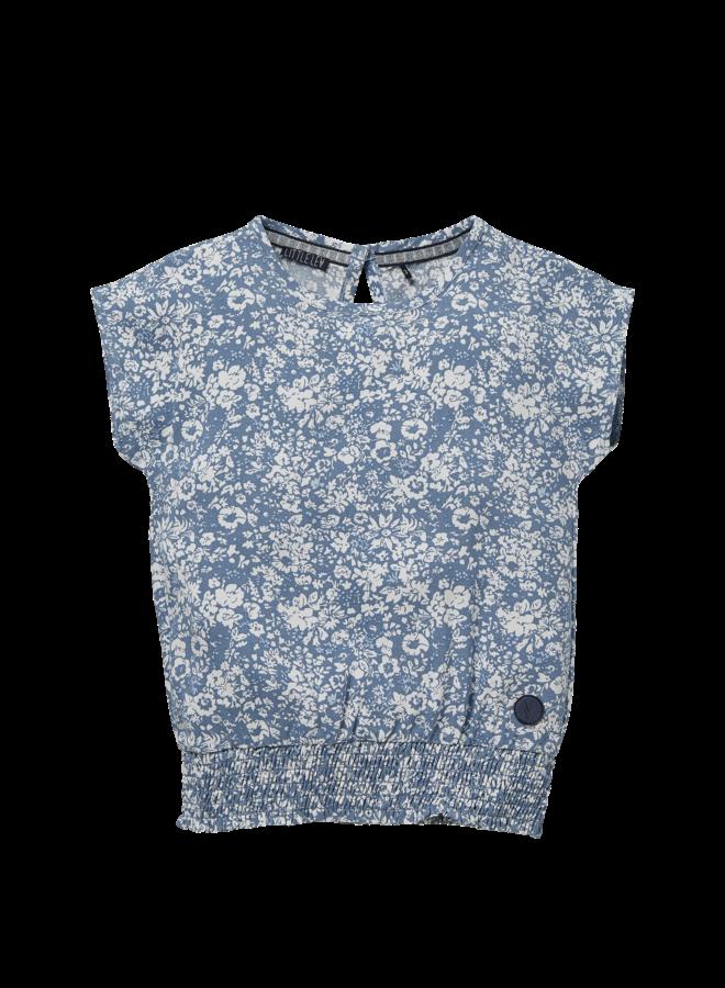 Nina - Blouse - Mid Blue Flower