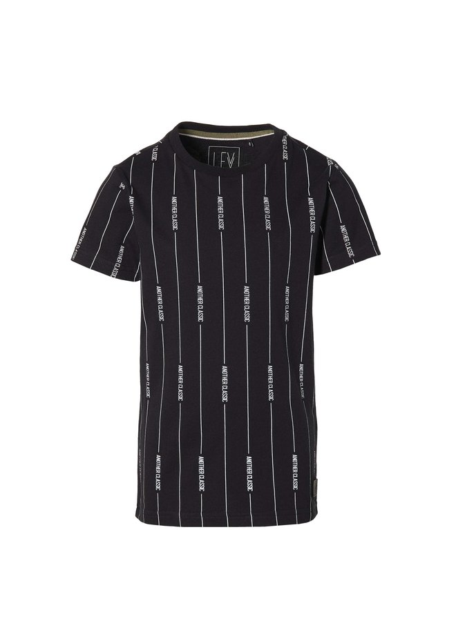 Malin - Shortsleeve - Black Text Stripe