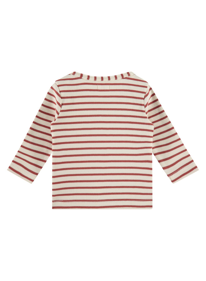 Baby T-shirt Longsleeve - Stripe - Indian Red SS21