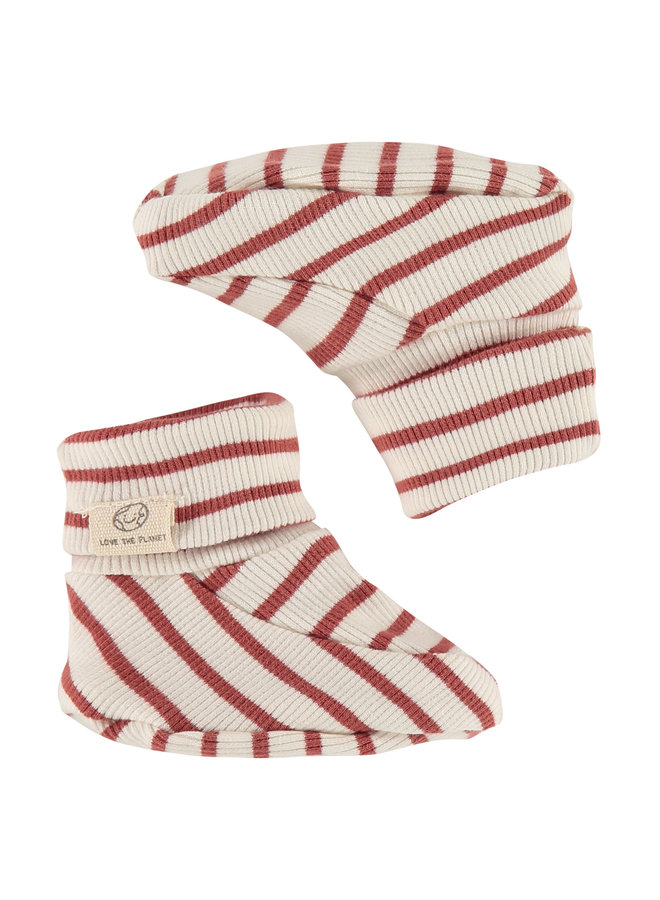 Baby Slippers - Stripe - Indian Red