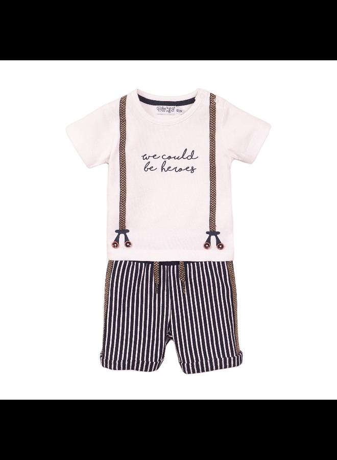 2 Pce Babysuit Shorts - White & Navy Stripe SS21
