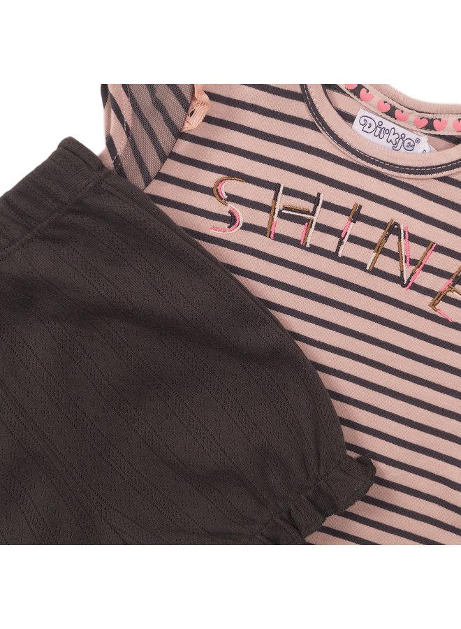 Girls 2 pce Babysuit Shorts - Smokey Pink & Stripe & Smokey Grey SS21