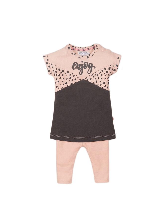Girls 2 pce Babysuit Dress - Smokey Pink & Smokey Grey SS21