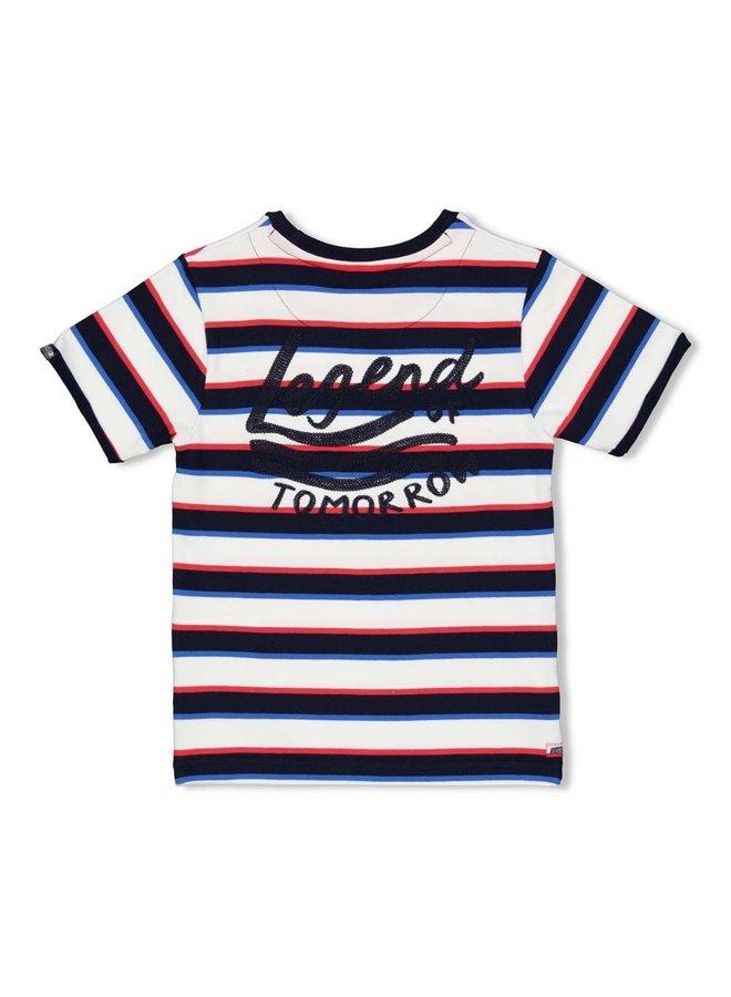 T-shirt streep - Playground - Marine