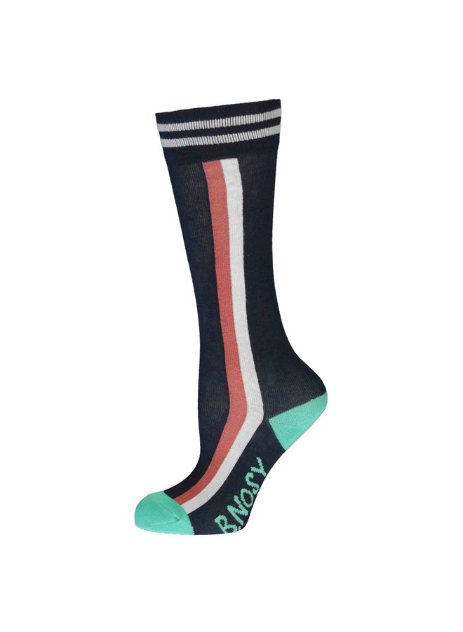 Girls - Socks With Vertical Stripe - Space Blue