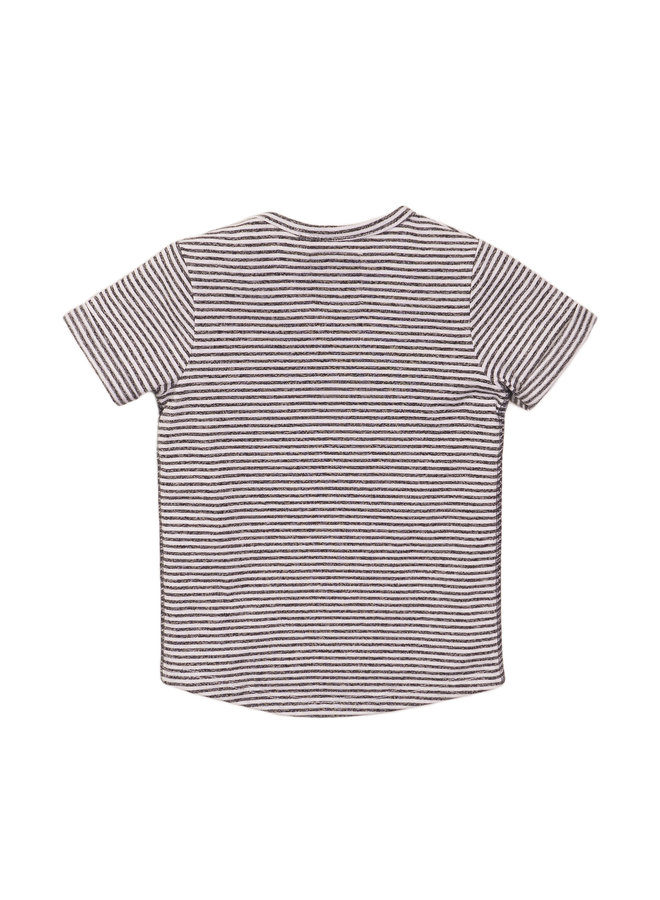 Boys T-shirt ss - Dark Grey & Stripes SS21