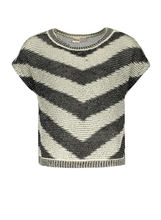 Luna - Zigzag Knit Top - Tiger - Black SS21