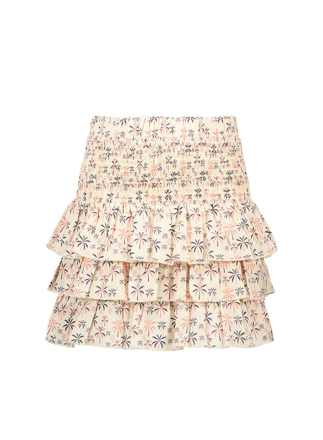 Luna - Voile Palm Tree Smock Skirt - Lollypop - Offwhite SS21