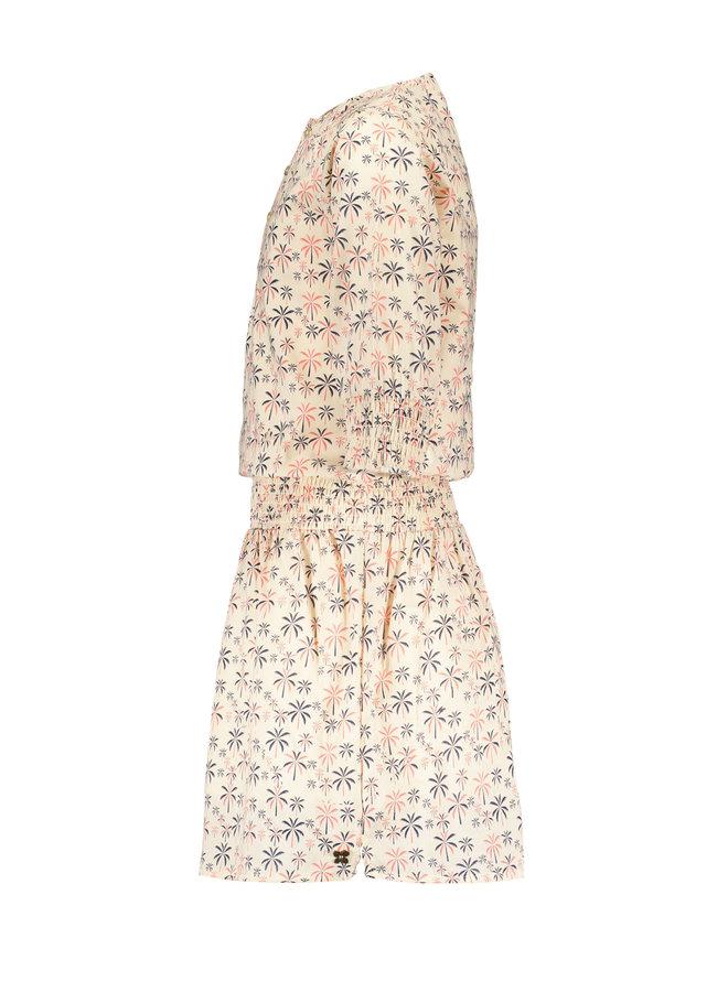 Luna - Voile Palm Tree Dress - Lola - Offwhite SS21