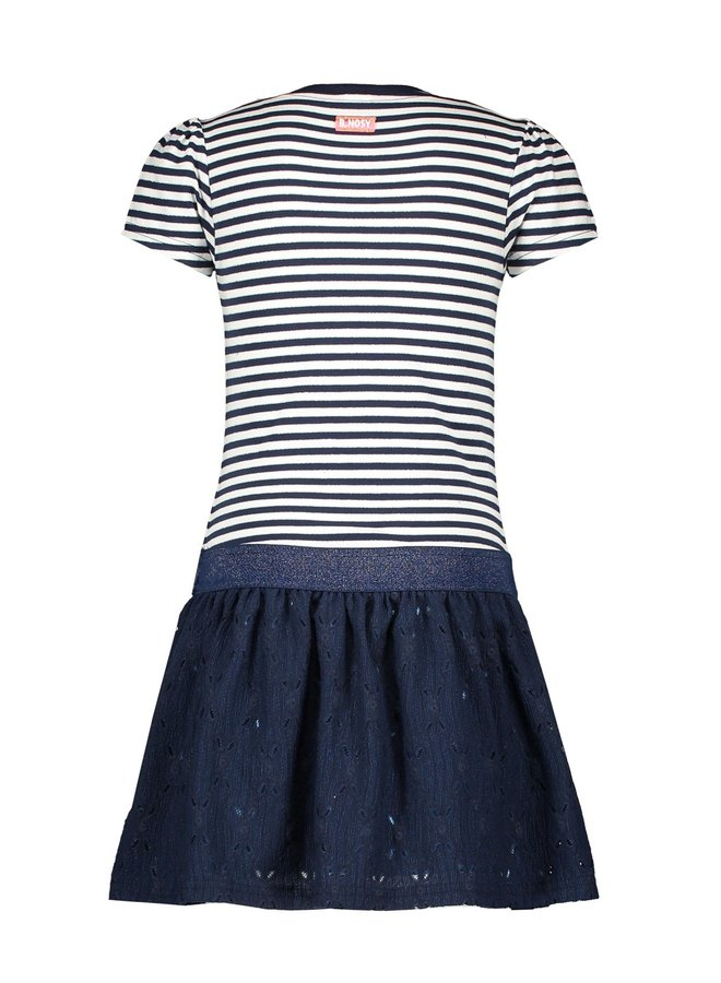 Girls Dress With Top Part Lurex YDS + Lace Skirt Part - Pewter Spring Stripe