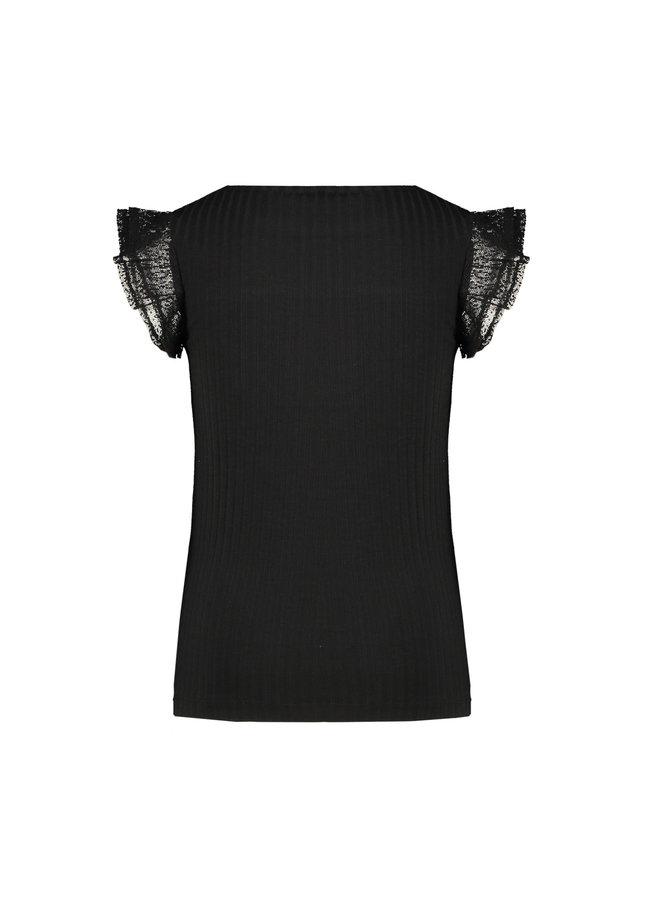Kathy Rib T-shirt With Ruffled Mesh Short Sleeves - Antracite
