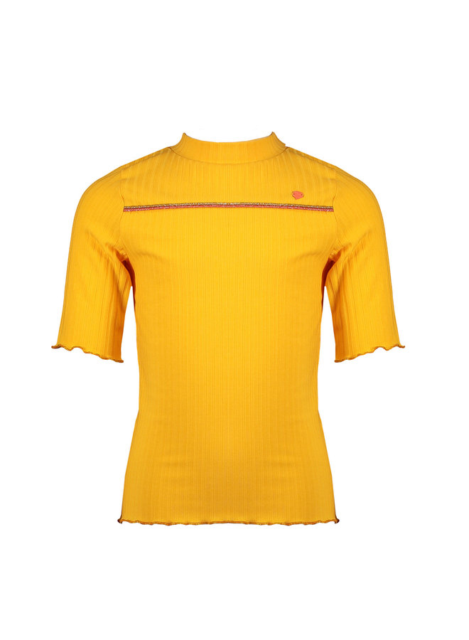 Kyra 3/4 sl T-shirt Rib Jersy With Small Turtle Neck - Blazing Orange