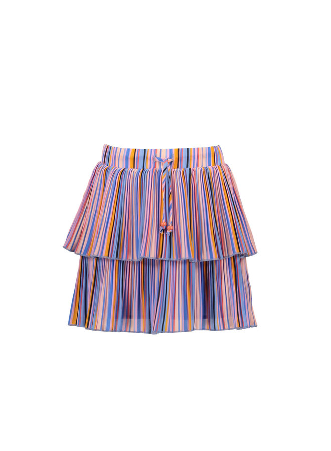 Nikkie 2 Layered Short Skirt In Bright Stripes - Bright Sky