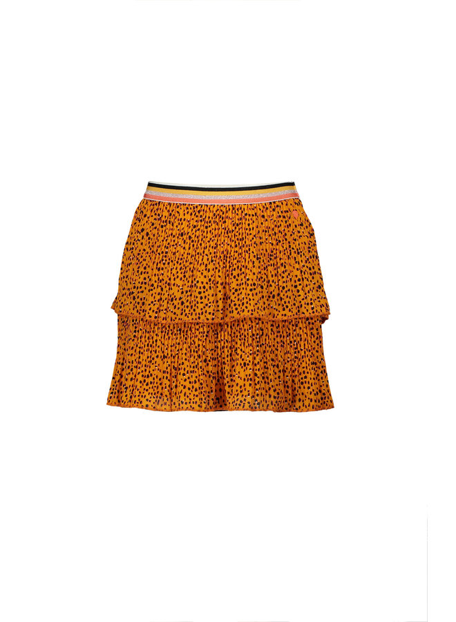 Nikkie 2 Layered Short Skirt In Pebblestone AOP - Blazing Orange