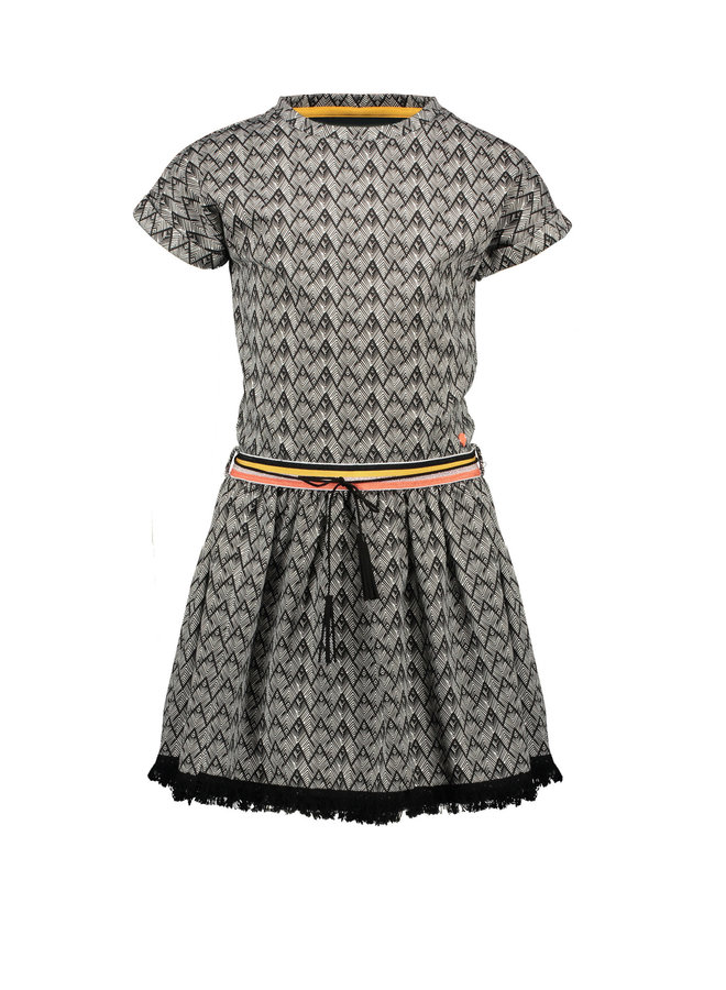 Mai ss Sweat Dress In African AOP - Antracite