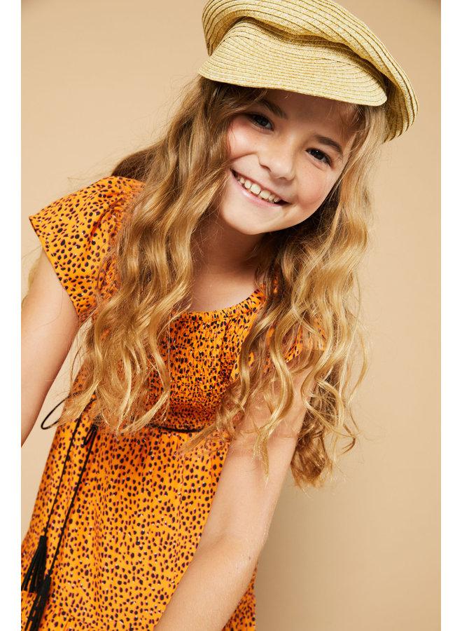 Malia ss Maxi Dress In Pebblestone AOP - Blazing Orange
