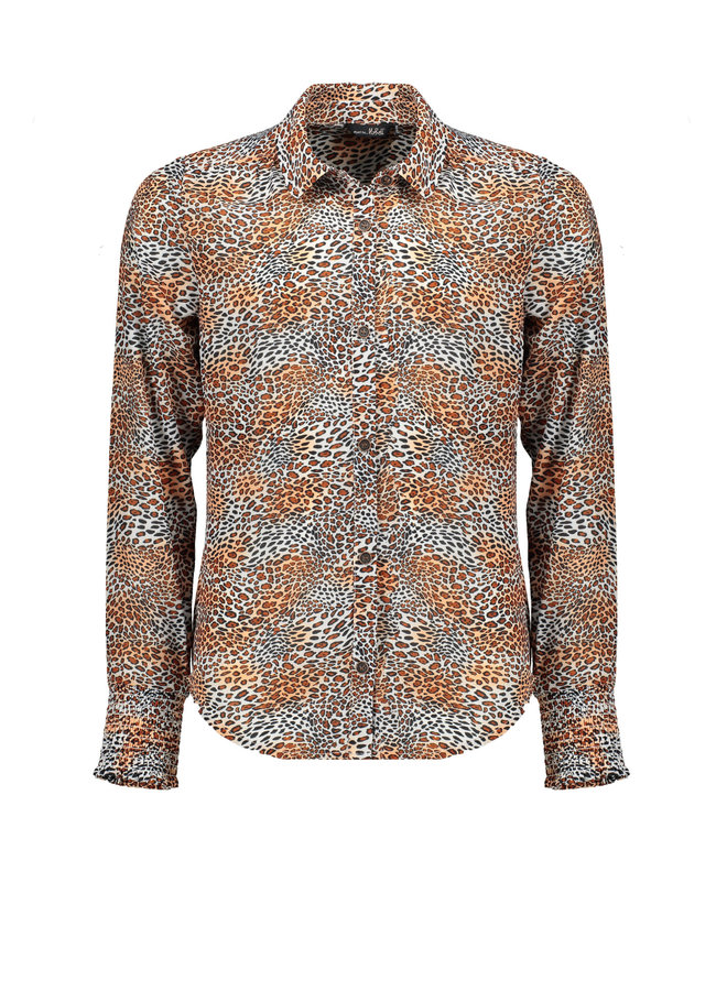 Tess Blouse Leopard AOp On Poly Voile - Ginger