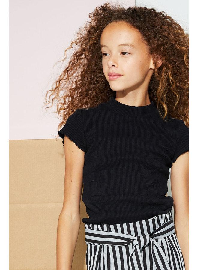 Kima Rib Jersey T-shirt ssl With Curly Edges At Sleeve - Jet Black