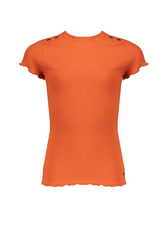Kima Rib Jersey T-shirt ssl With Curly Edges At Sleeve - Ginger