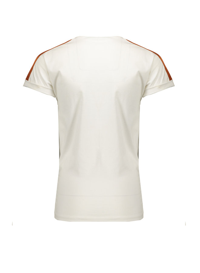 Kamy T-shirt ssl With Shoulder Parts & Equeal Print On Chest - Off White