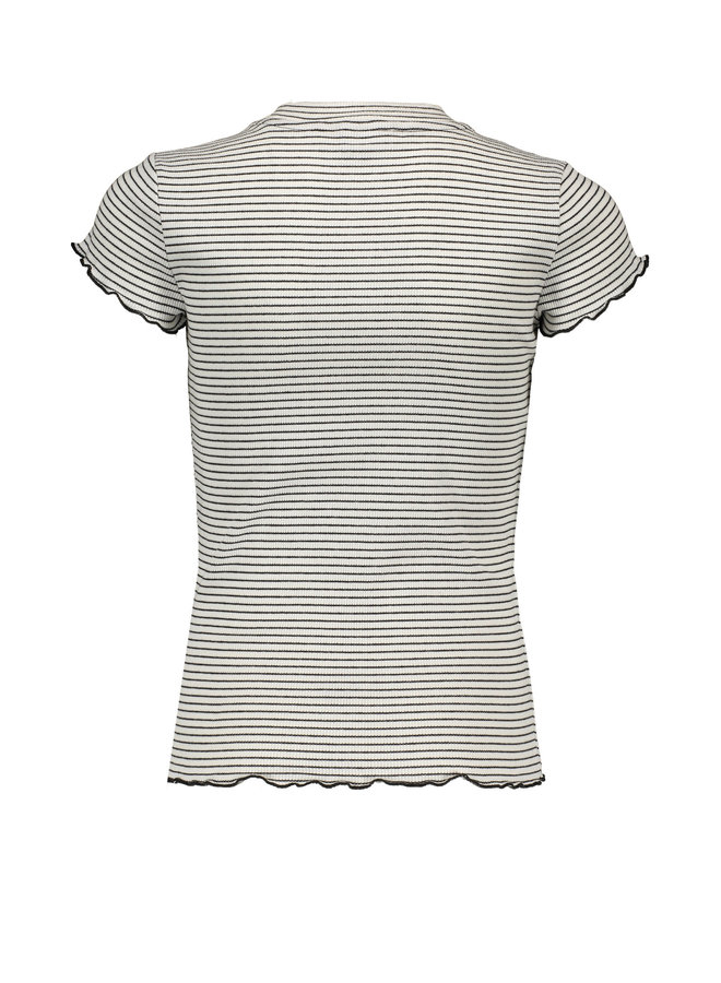 Kima Yarn Dyed Rib Jersey T-shirt With Small Turtle Neck - Off White