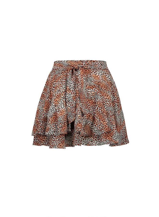 Noa Short Skirt With Fancy Frill In Leopard AOP - Ginger