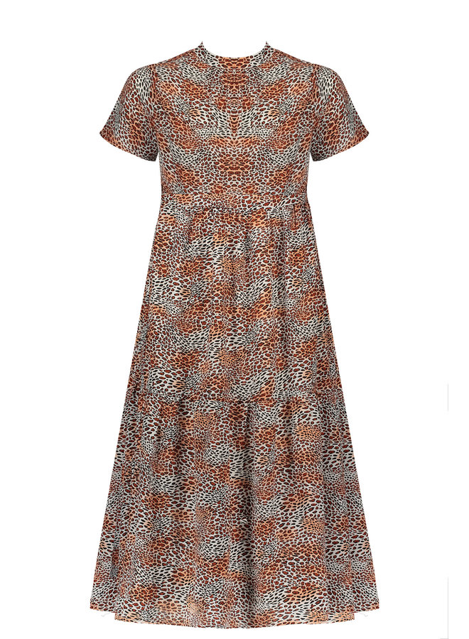 Mian s/sl Maxi Wide Dress With Small Turtle Neck - Ginger