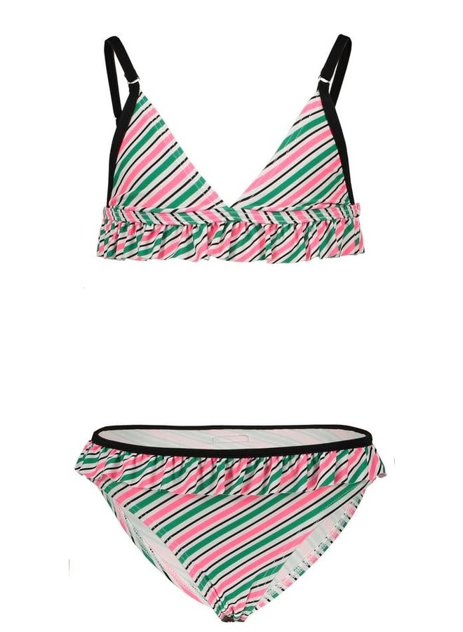 Girls - Stripe Sunny AO Bikini with Ruffle Details