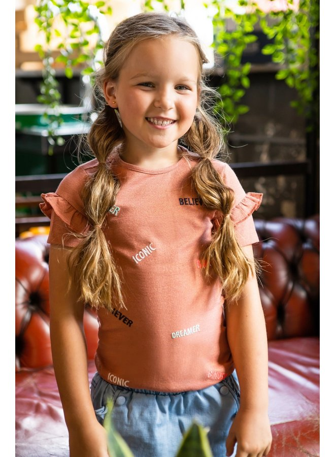 Girls - Lurex Shirt with AO Embro - Pale Brown