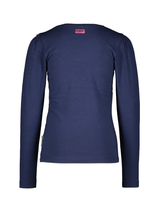 Girls - T-shirt with contrast Ruffle - Space Blue