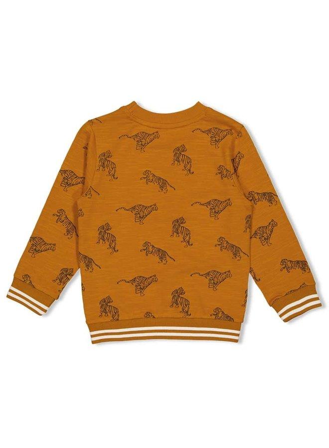 Sweater AOP - Happy Camper - Okergeel
