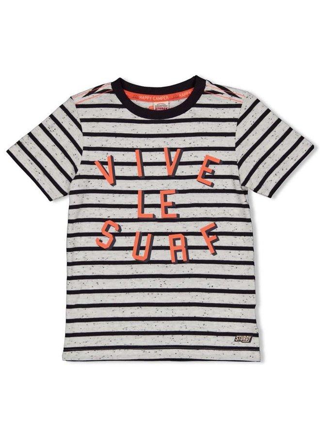 T-shirt streep - Happy Camper - Antraciet