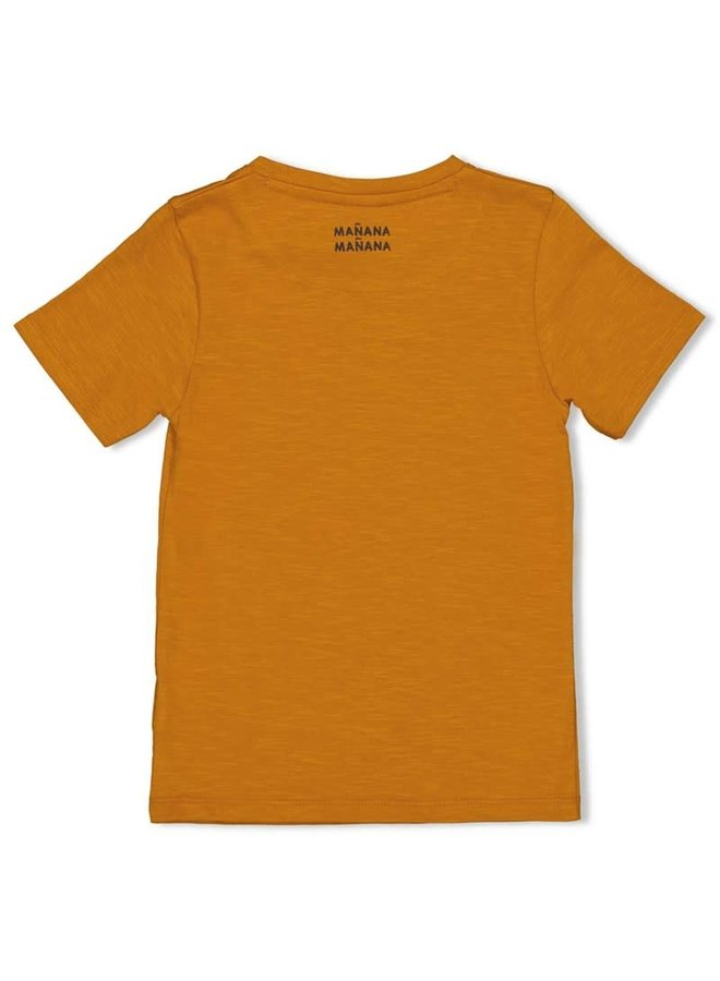 T-shirt - Happy Camper - Okergeel