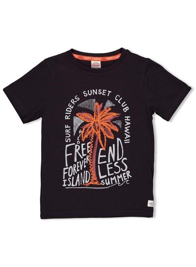 T-shirt - Happy Camper - Antraciet