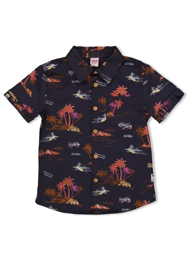 Overhemd k/m - Happy Camper - Antraciet