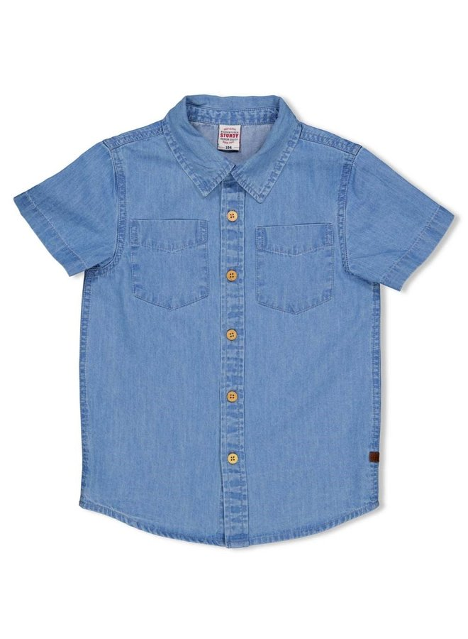 Overhemd k/m - Summer Denims - Grey Denim
