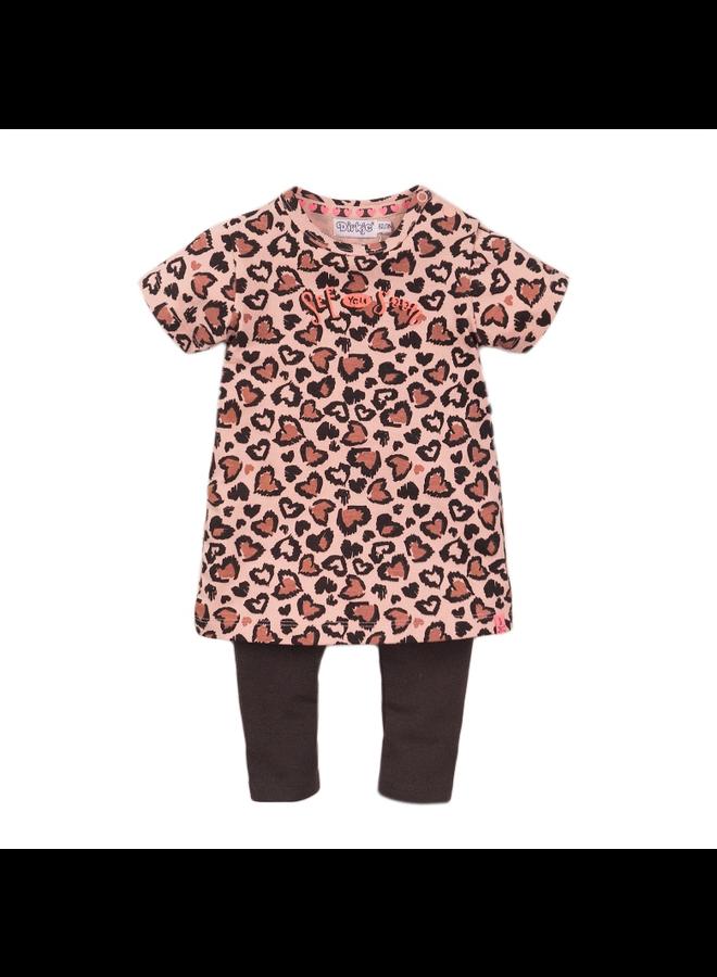 2 Pce Babysuit Dress Ss - Smokey Pink & AOP SS21