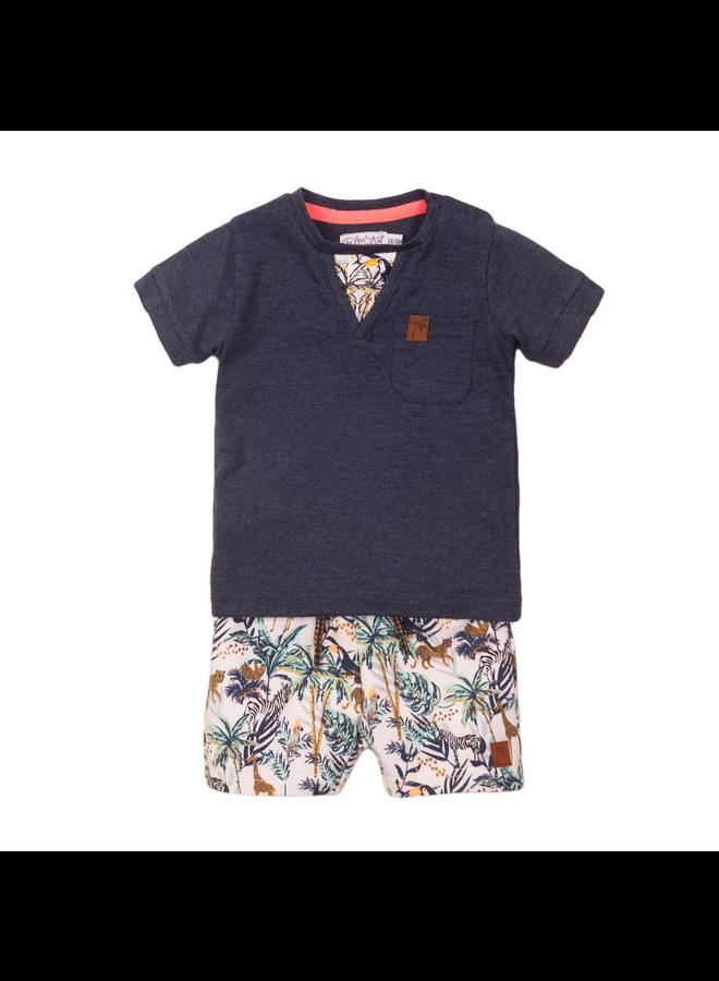 2 Pce Babysuit Shorts - Navy & Multi Colour SS21