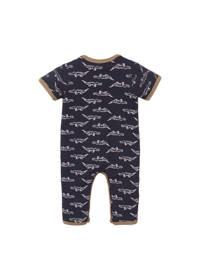 Boys 1 Pce Babysuit - Navy & AOP