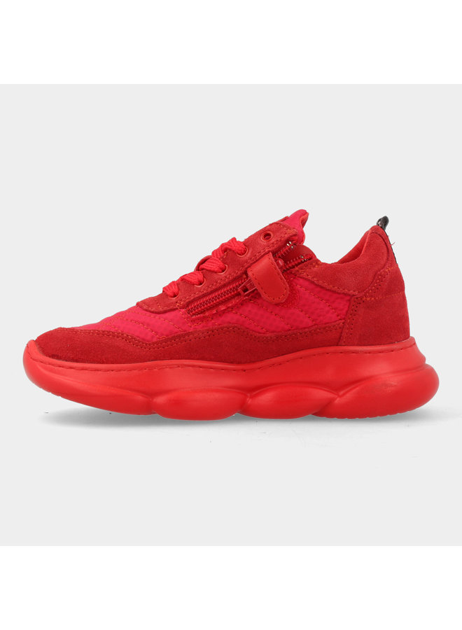 Boys Low Cut Sneaker Laces - Red Suede