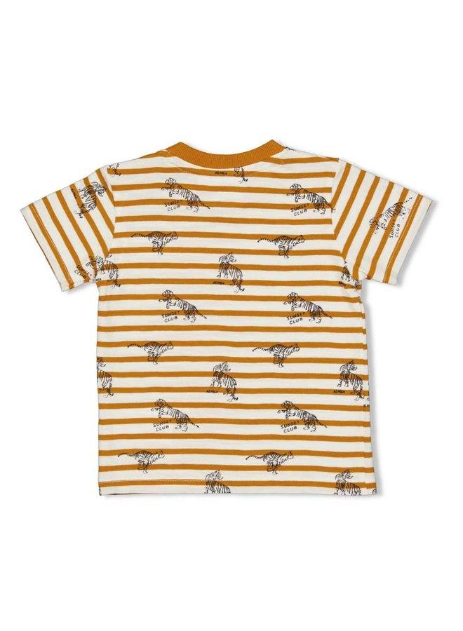 T-shirt streep - Happy Camper - Okergeel