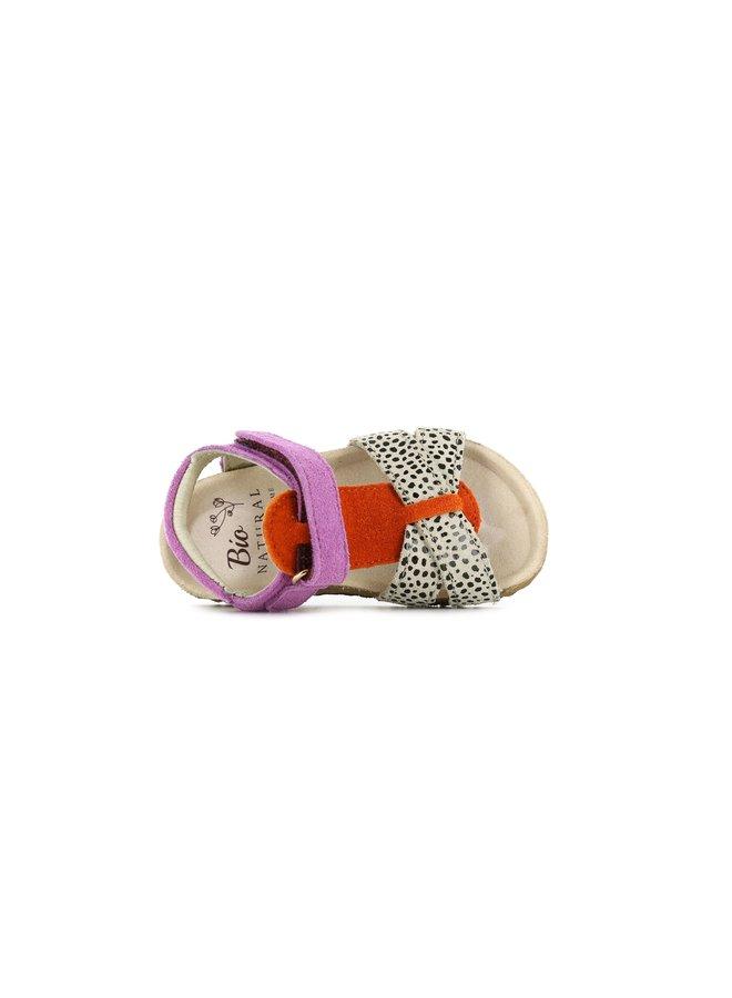 BI20S074-J Bio Sandaal - Beige dot - Orange - Lila