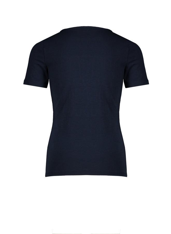 Kusu T-shirt - Half sleeve with Wild Mind Embroidery - Navy Blazer