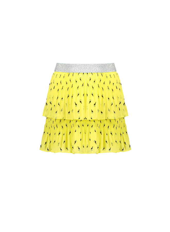 NikkiB - 2 Layered plisse skirt in Toucan AOP - Lime Light